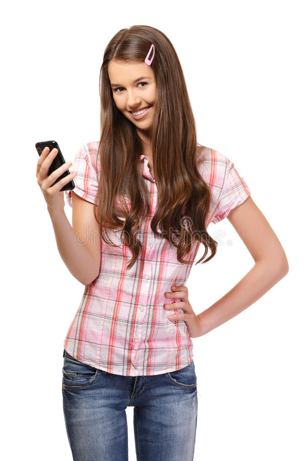 Portrait of a schoolgirl with cellphone stock photo