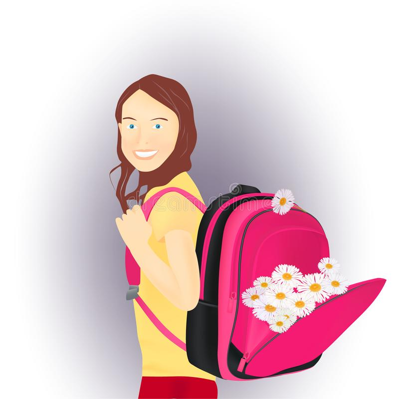 Portrait of schoolgirl with a backpack isolated on white background vector illustration