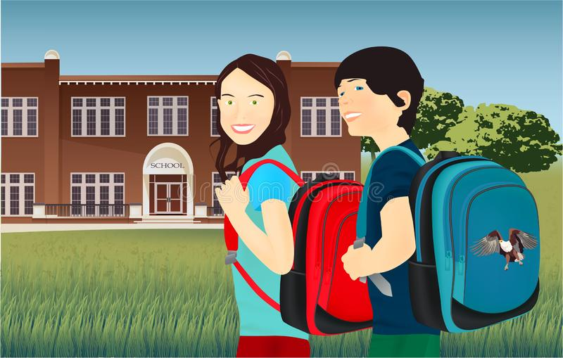 Portrait of schoolgirl and schoolboy with a backpack royalty free illustration