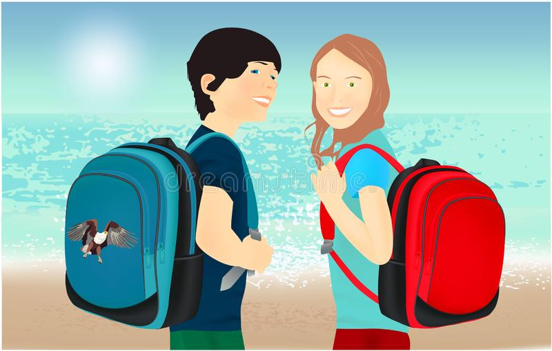 Portrait of schoolgirl and schoolboy, pupils or students with a backpack vector illustration