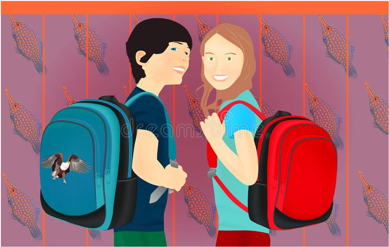 Portrait of schoolgirl and schoolboy, pupils or students with a backpack stock illustration