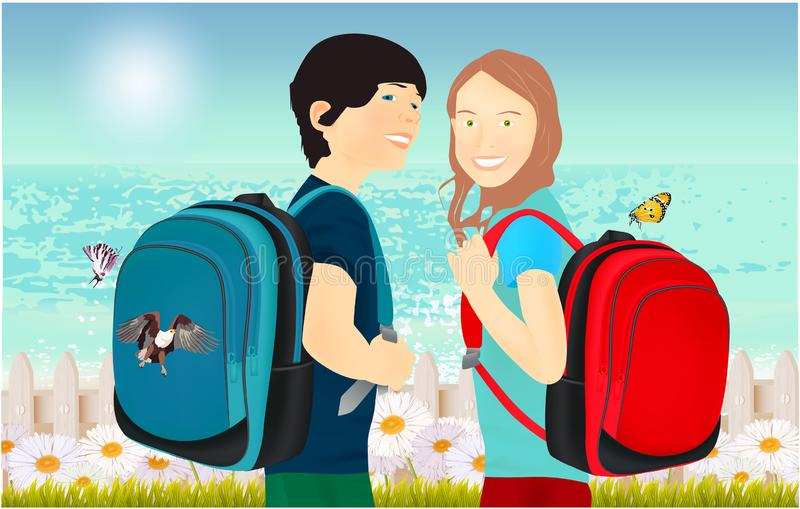 Portrait of schoolgirl and schoolboy, pupils or students with a backpack royalty free illustration