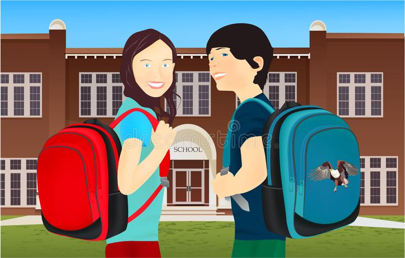 Portrait of schoolgirl and schoolboy, pupils or students with a backpack in nature, park, outdoors stock illustration
