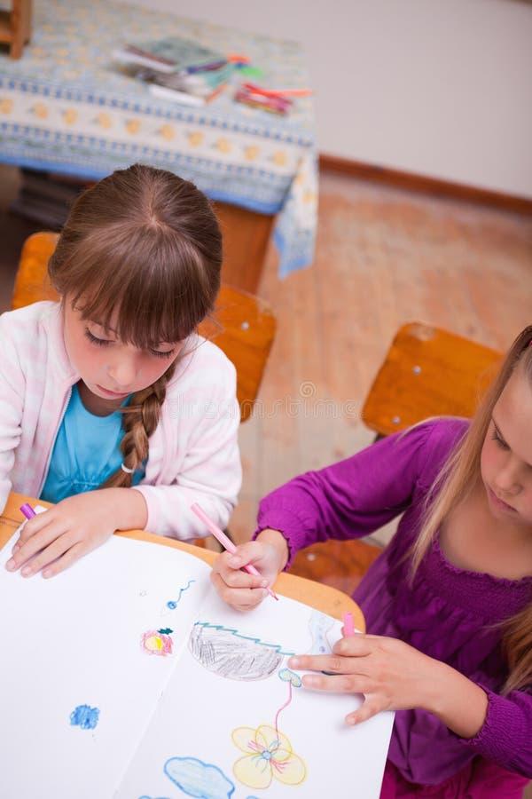 Download Portrait Of A Schoolgirls Drawing Stock Photo - Image: 22690904