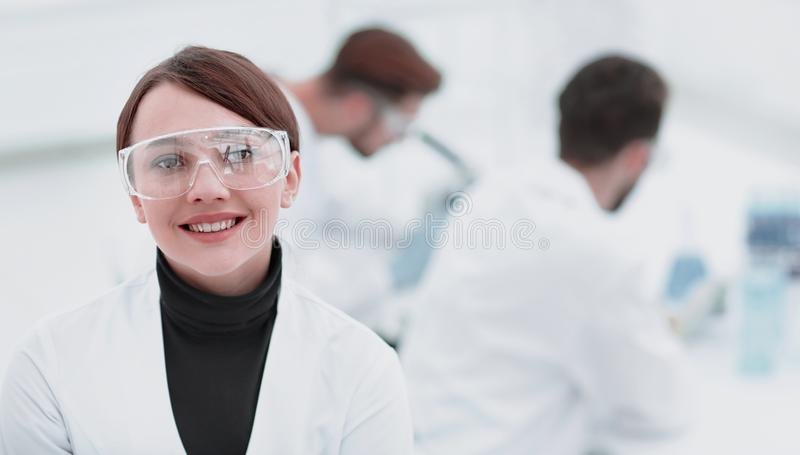 Portrait of scientist in laboratory background. Photo with copy space royalty free stock photos