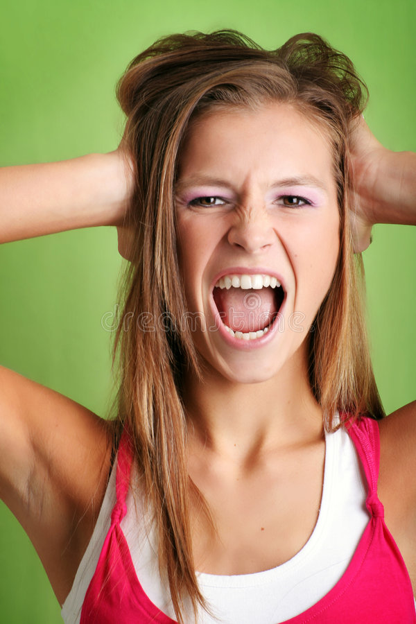 Portrait of a screaming woman royalty free stock photos