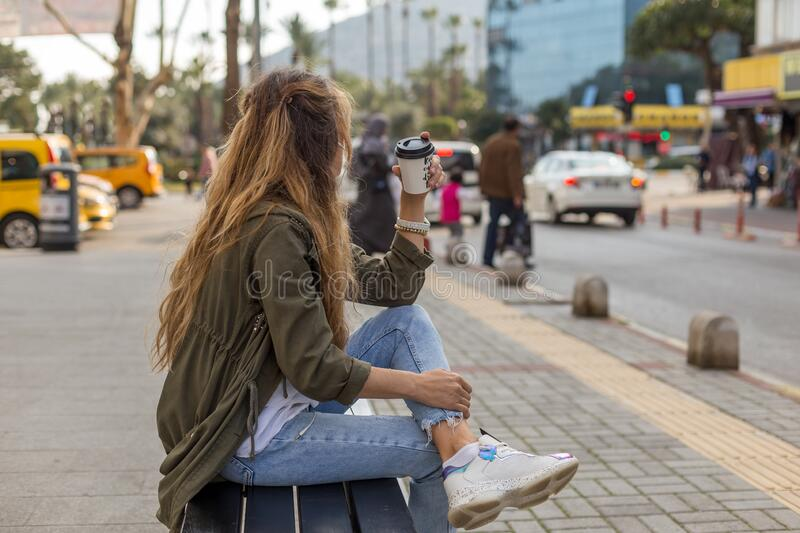 Portrait of a self-confident female in urban environment with ta royalty free stock photos