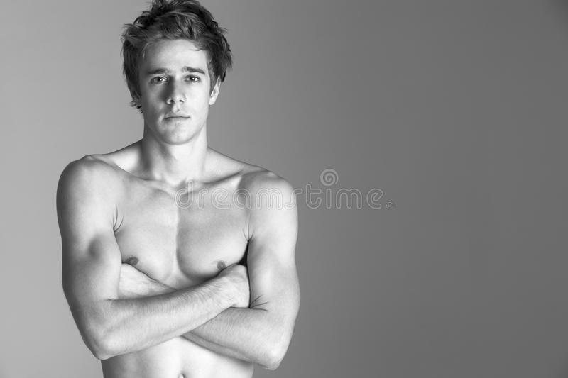 Portrait Of Semi Naked Young Man stock photos