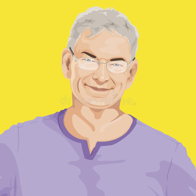 Portrait of Senior Adult Cartoon vector illustration