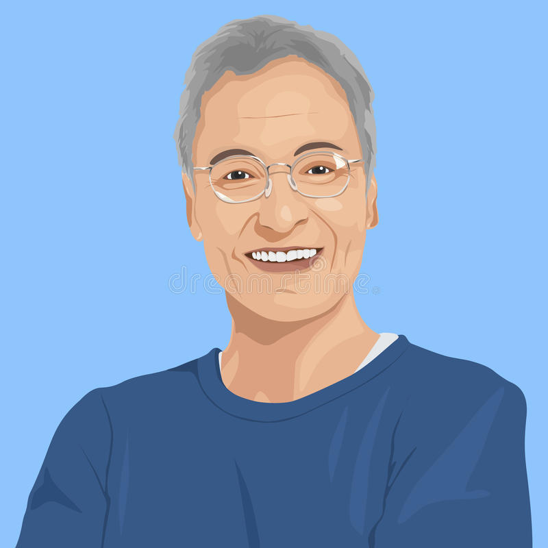 Portrait of Senior Adult Concept stock illustration