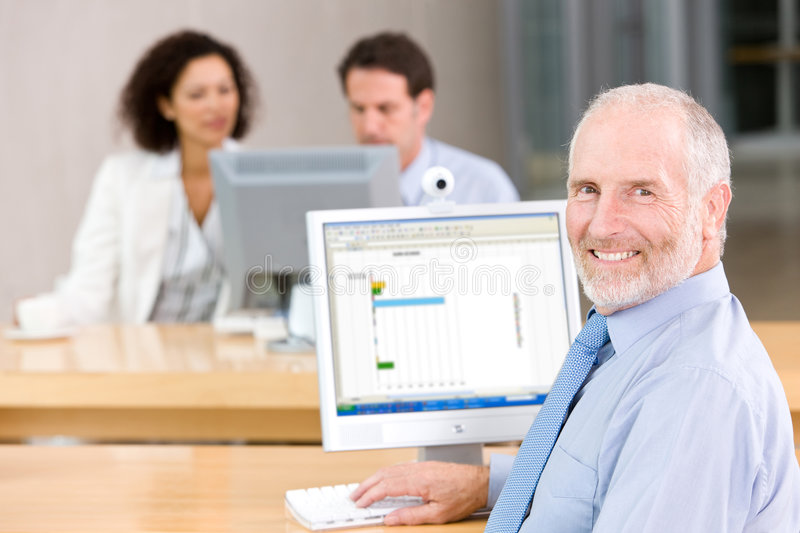 Portrait of Senior business man stock images