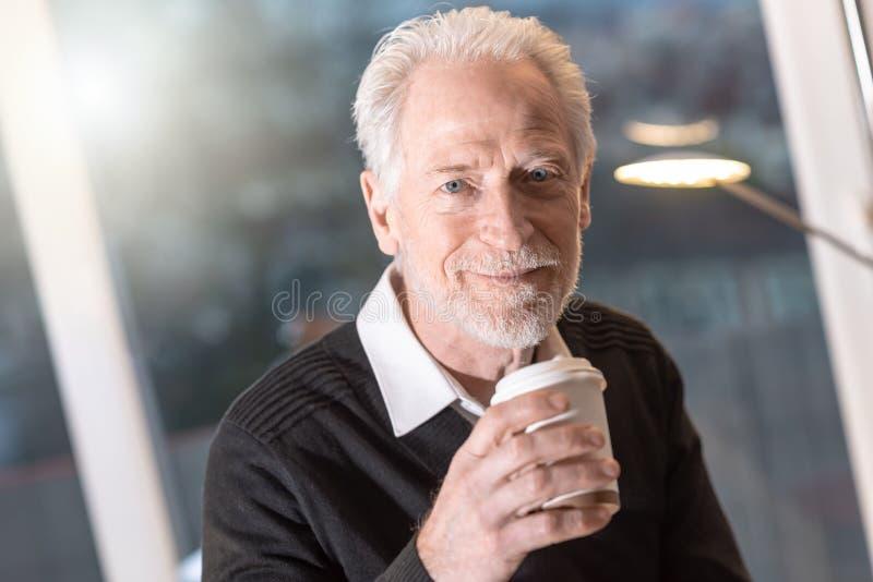 Portrait of senior businessman having coffee break. In office royalty free stock photos