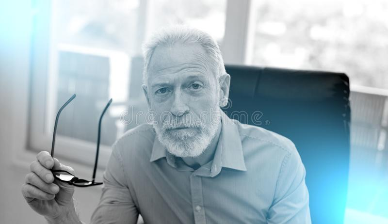 Portrait of senior businessman holding his glasses. Looking the camera royalty free stock image