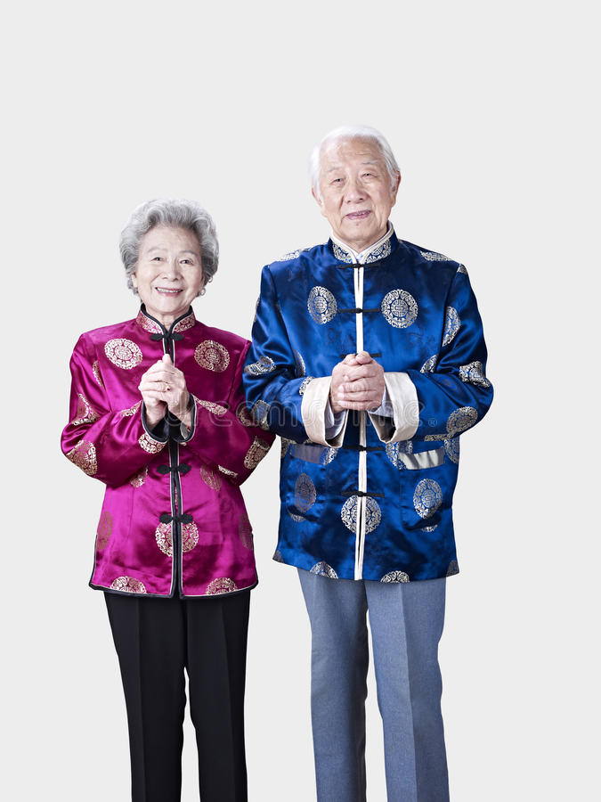 Portrait of a senior chinese couple royalty free stock photography