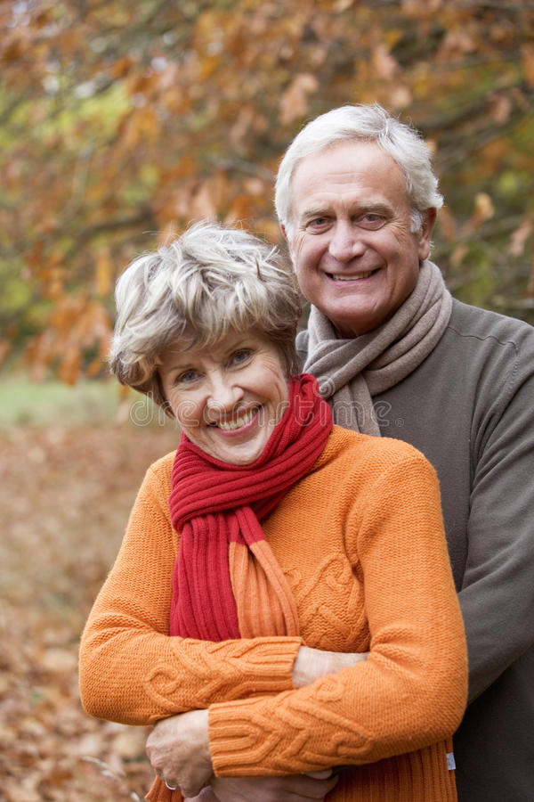 A portrait of a senior couple in autumn time stock photos