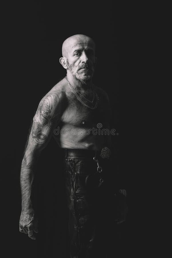 Portrait of senior man in black and white royalty free stock photos
