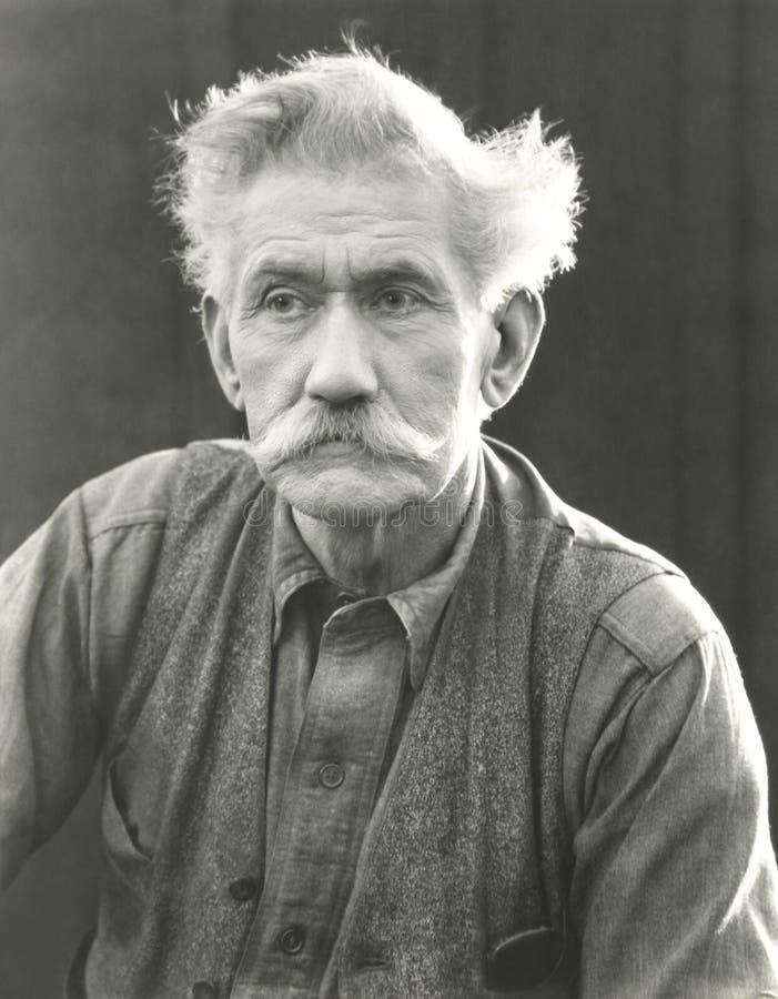Portrait of senior man with bushy moustache royalty free stock image