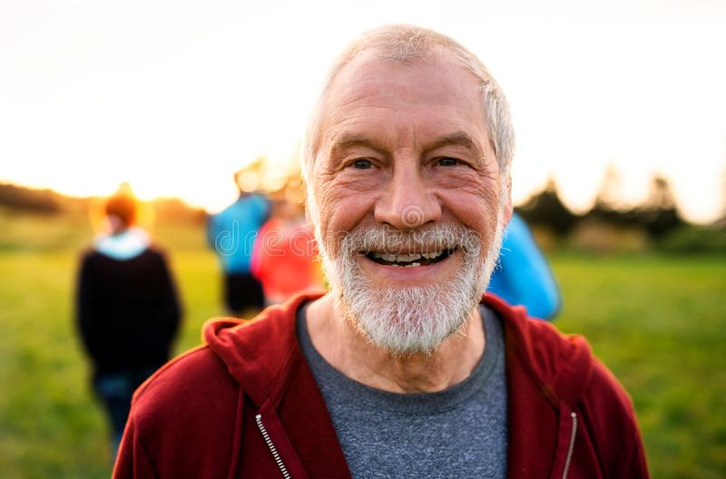 A portrait of senior man with large group of people doing exercise in nature. royalty free stock photos