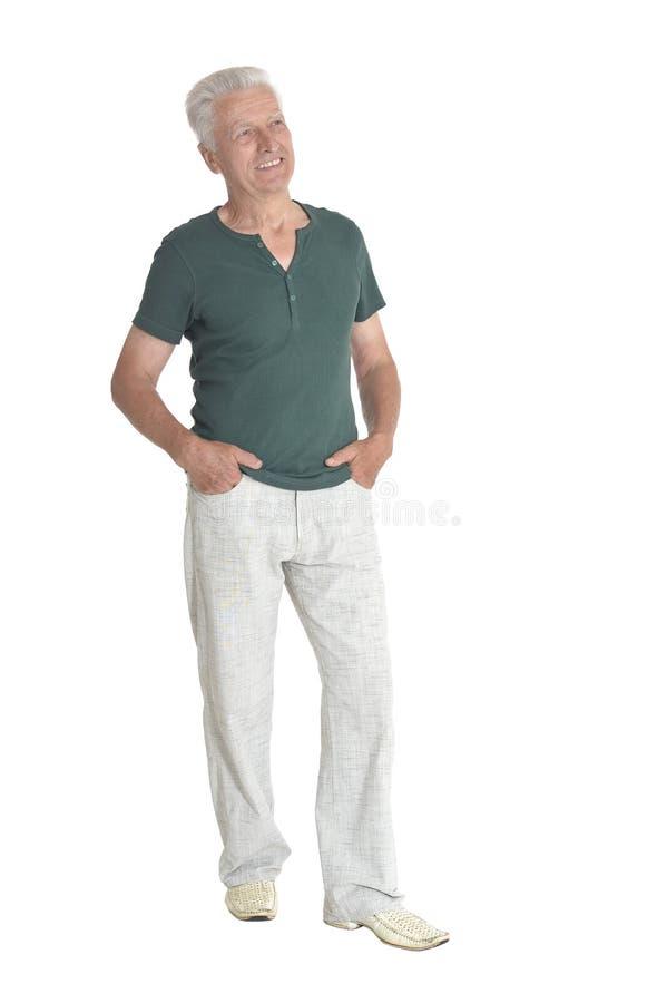Portrait of senior man posing on white background royalty free stock photos