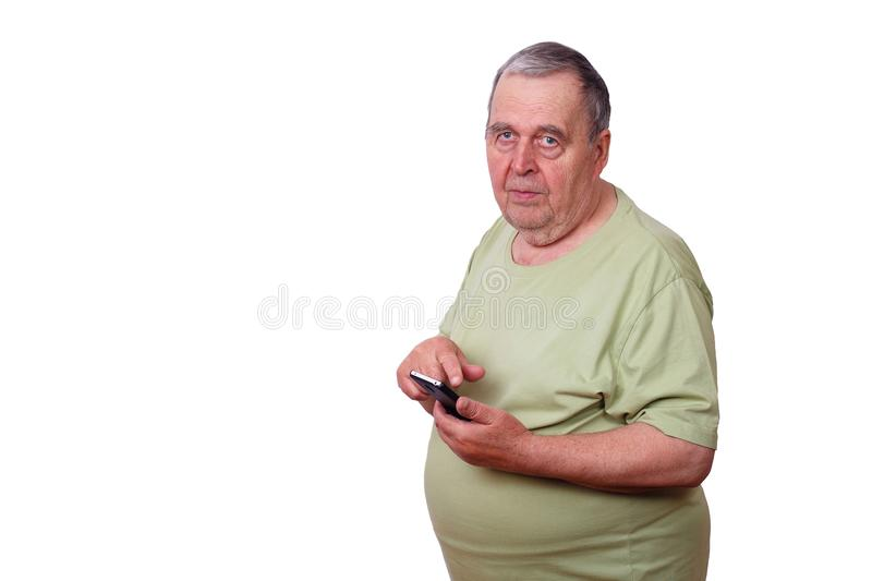 Portrait of senior man using apprehension on mobile phone, typin. G message stock images