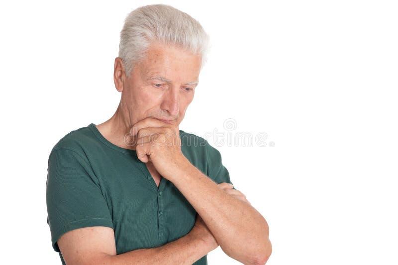 Portrait of senior man on white background royalty free stock photo