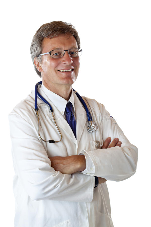 Portrait of Senior Physician with crossed arms stock photos