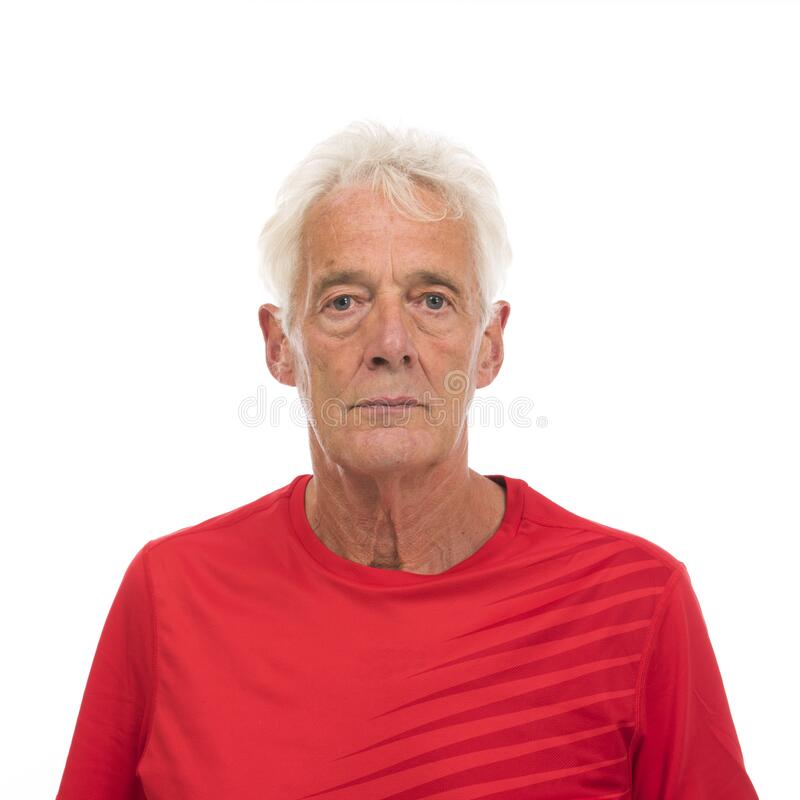 Portrait senior sport man stock photo