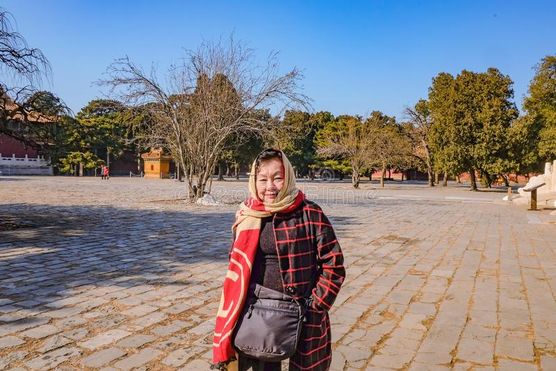 Portrait of Senior Tourist in Ming Dynasty Tombs Beijing. City China royalty free stock photography