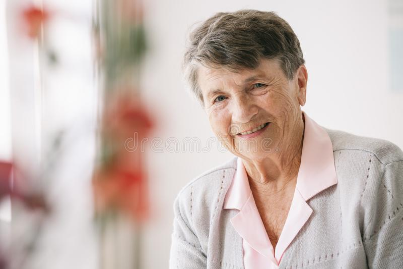 Portrait of senior woman stock images