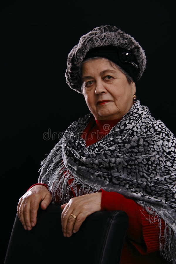 Download Portrait Of Senior Woman With Shawl Stock Image - Image: 12387441