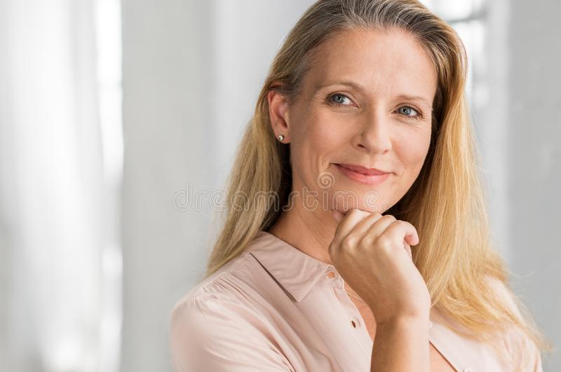 Satisfied mature woman royalty free stock image
