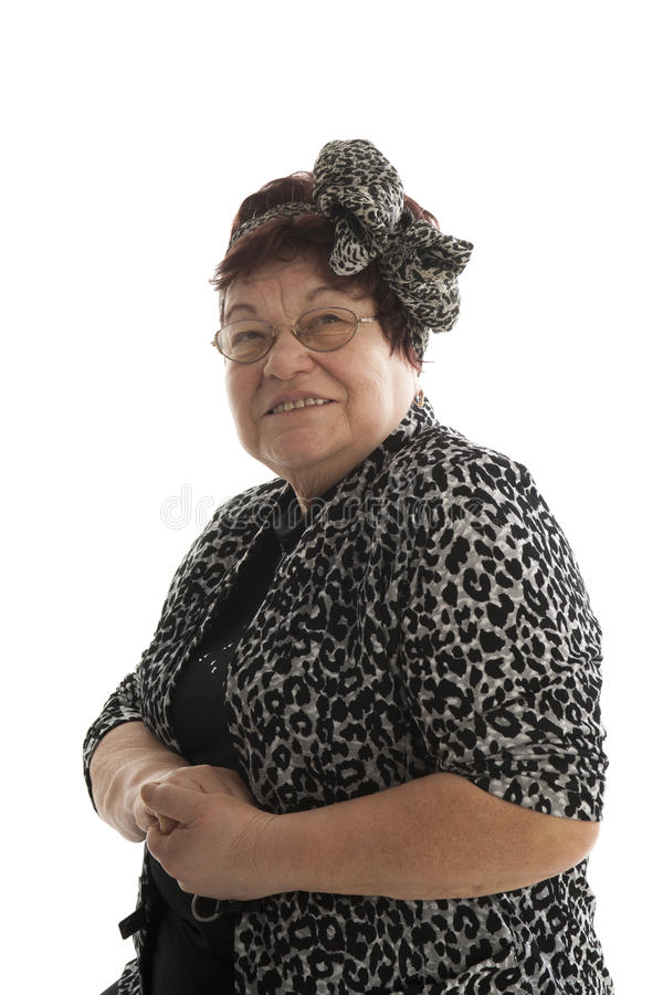 Portrait of senior woman on a white background royalty free stock images