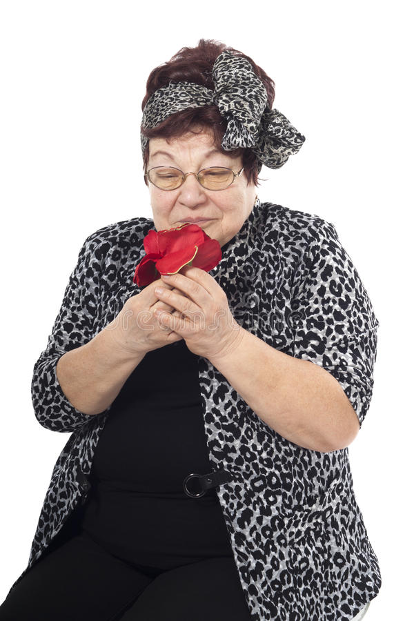 Portrait of senior woman on a white background stock images