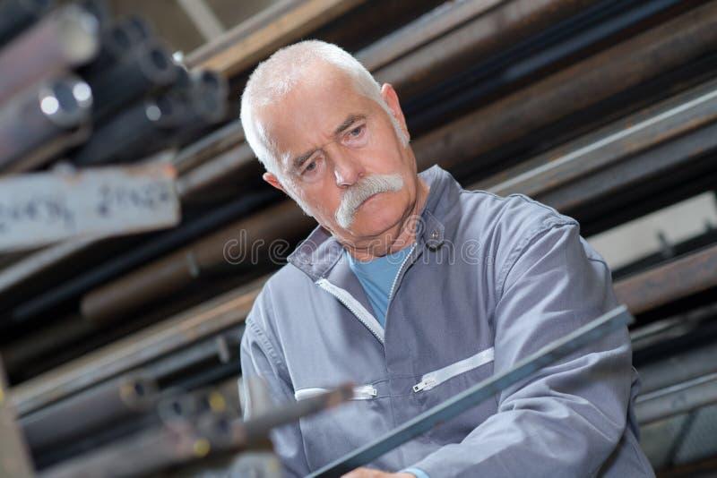 Portrait senior worker stock photo