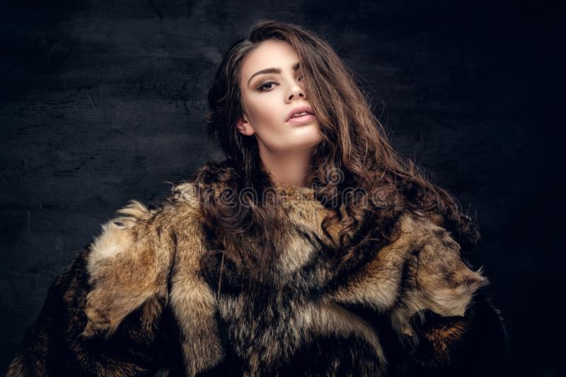 Sensual brunette female dressed in a fur coat. royalty free stock photo