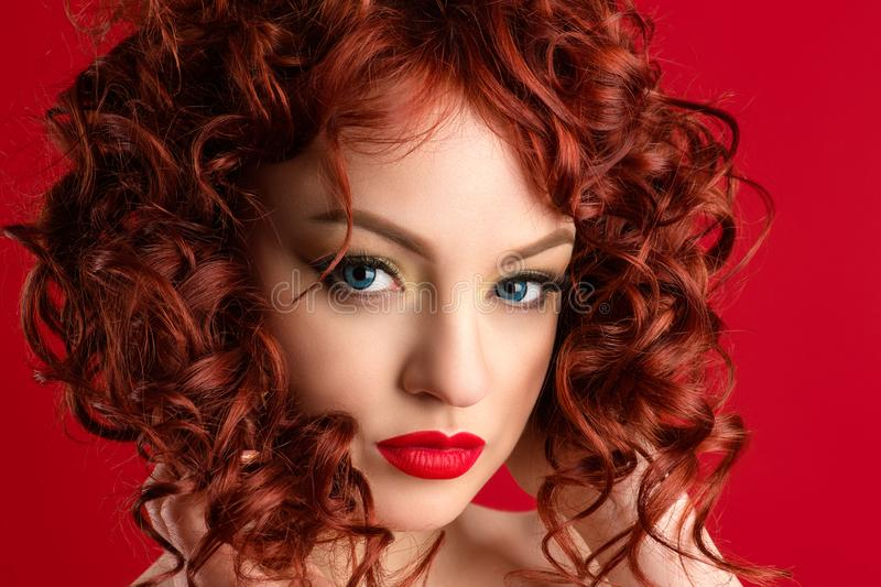 Portrait sensual charming woman with red hair stock photography