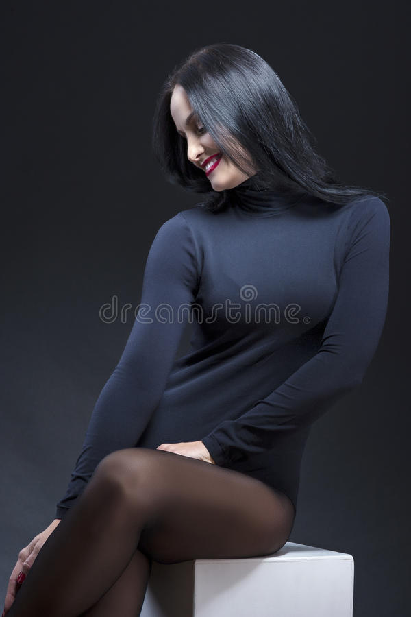 Portrait of Sensual Tempting and Smiling Caucasian Mature Brunet stock photography