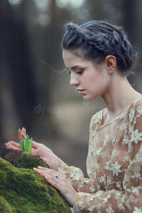 Portrait of sensual young woman wearing elegant dress in a coniferous forest. royalty free stock photography