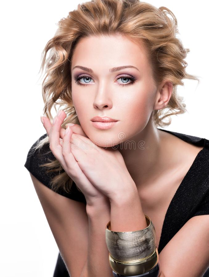 Portrait of a sensuality beautiful woman with fashion makeup royalty free stock photos