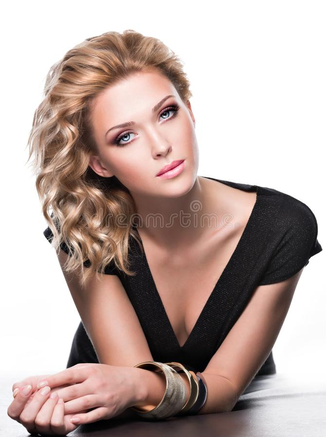 Portrait of a sensuality beautiful woman with fashion makeup royalty free stock images