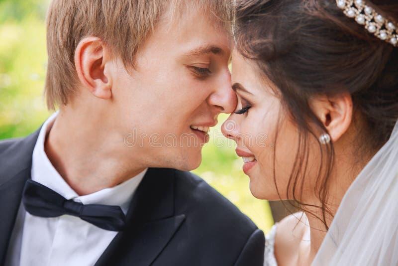 Portrait sensuel d'un jeune couple en parc Photo de mariage extérieure photographie stock