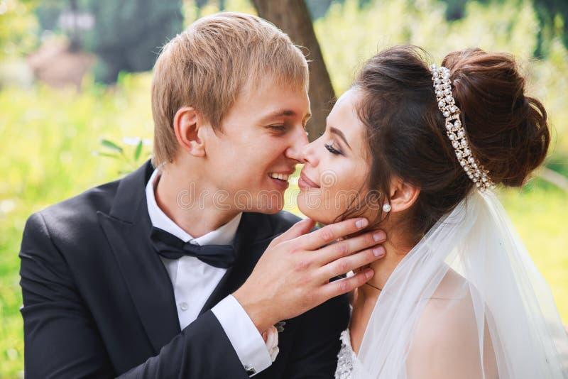 Portrait sensuel d'un jeune couple en parc Photo de mariage extérieure image stock