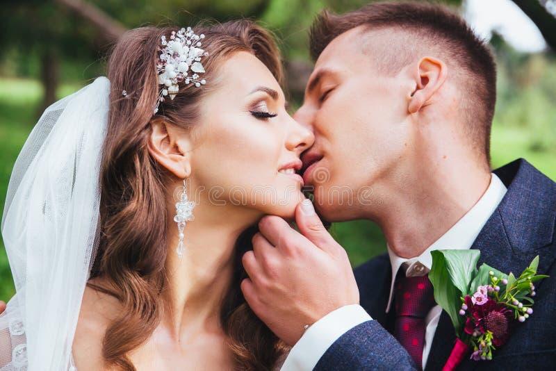 Portrait sensuel d'un jeune couple Photo de mariage extérieure image stock