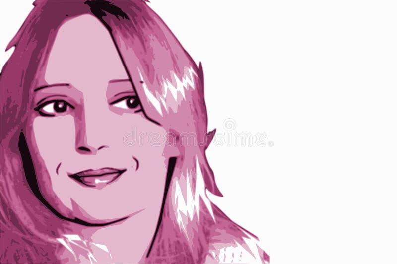 Pink Woman Portrait Cartoon stock illustration