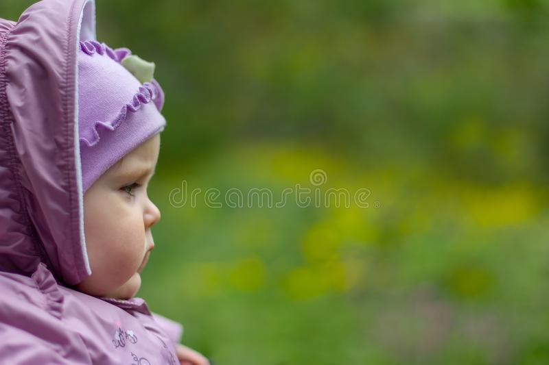 Portrait of serious brooding eleven month old baby girl on natural background royalty free stock images
