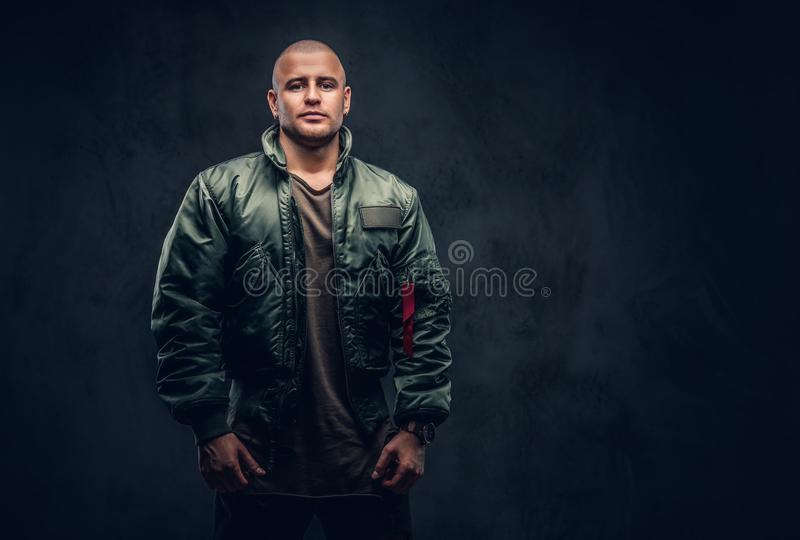 Portrait of a serious brutal male. stock images