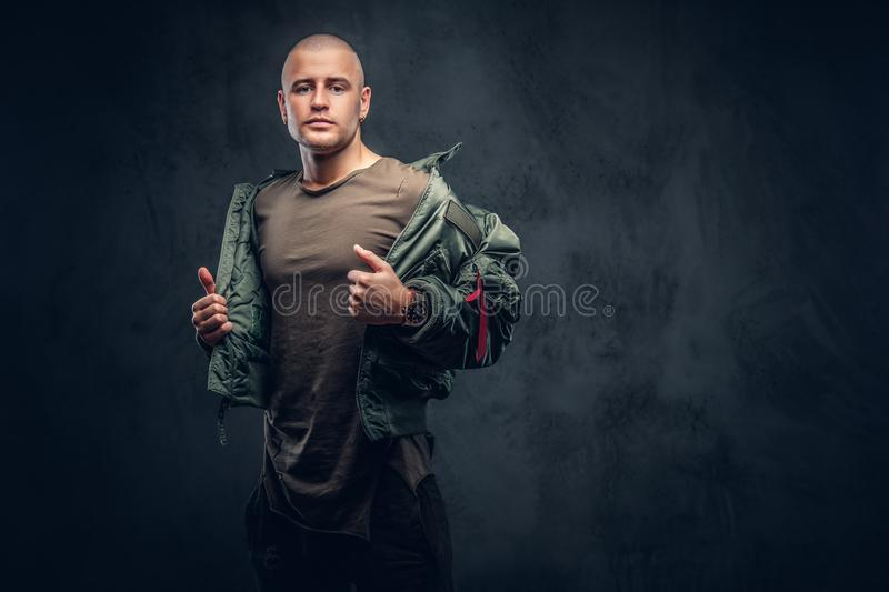 Portrait of a serious brutal male. royalty free stock photos