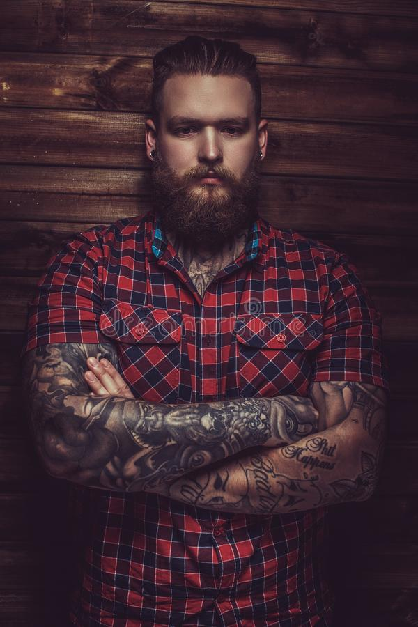 Portrait of serious brutal man. royalty free stock photography