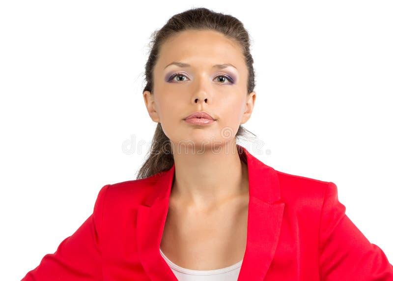 Portrait of serious businesswoman in suit. Portrait of businesswoman in suit - isolated photo stock photo