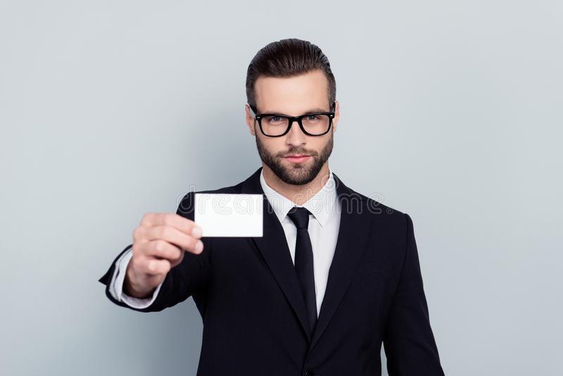 Portrait of serious expert experienced confident focused stylish stock photo